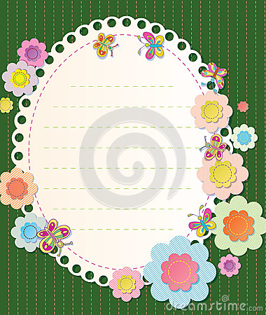 Vector frame with elements of embroidery. Textile