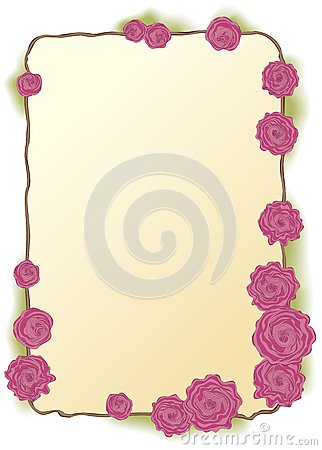 Vector frame of lush pink roses
