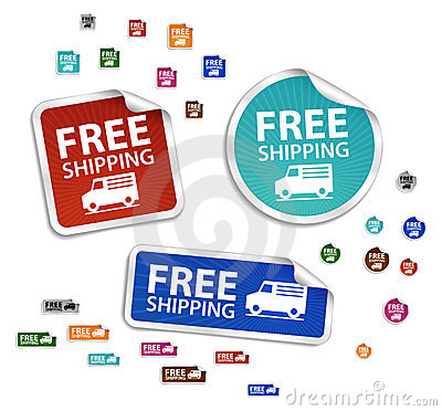 Vector free delivery stickers, free shipping label