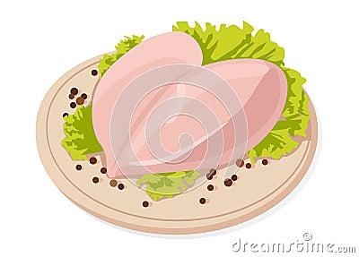 Vector fresh raw chicken breasts