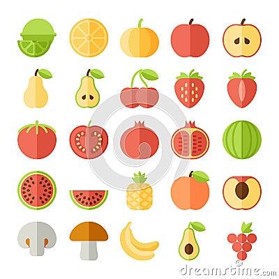 Free Vector Fruit Flat Icon Set Stock Image - 55063821