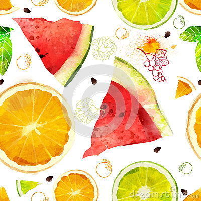 Free Vector Fruit Seamless Pattern Stock Photography - 52345242