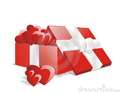 Vector full love gift present box