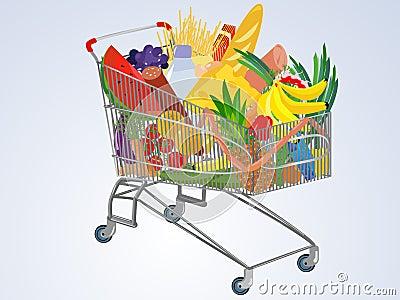 Vector full supermarket cart