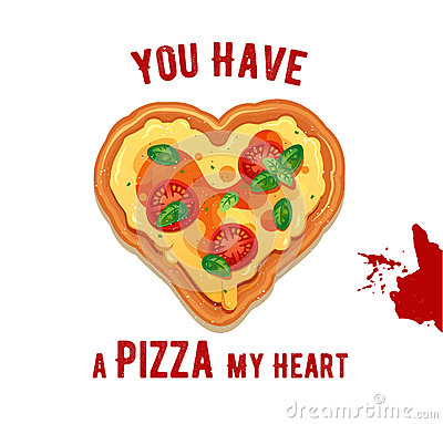 Free Vector Fun Valentine Day Card You Have A Pizza My Heart. Stock Image - 85910471