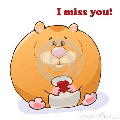 Vector funny animal. Cute hamster with a heart in his hands. Postcard with the phrase: I miss you. Cute little animal. Isolated Vector Illustration