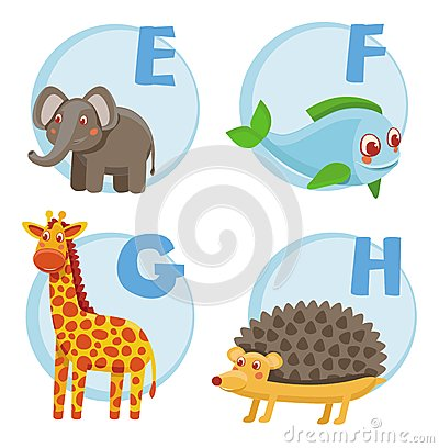 Vector funny cartoon alphabet