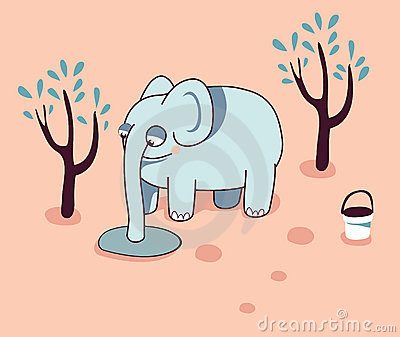 vector Funny cartoon elephant