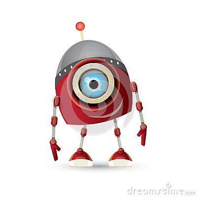 Free Vector Funny Cartoon Red Friendly Robot Character Isolated On White Background. Kids 3d Robot Toy. Chat Bot Icon Royalty Free Stock Image - 117144416