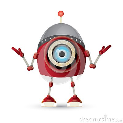Free Vector Funny Cartoon Red Friendly Robot Character Isolated On White Background. Kids 3d Robot Toy. Chat Bot Icon Royalty Free Stock Photo - 117144475