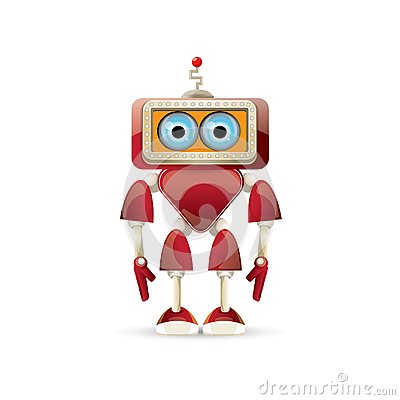 Free Vector Funny Cartoon Red Friendly Robot Character Isolated On White Background. Kids 3d Robot Toy. Chat Bot Icon Royalty Free Stock Photos - 117144578