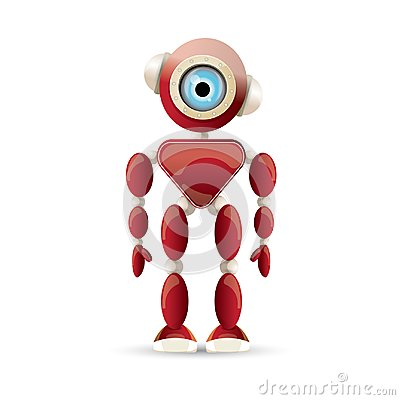 Free Vector Funny Cartoon Red Friendly Robot Character Isolated On White Background. Kids 3d Robot Toy. Chat Bot Icon Stock Photos - 117144643
