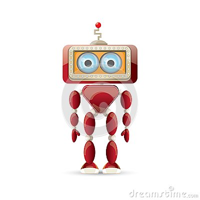 Free Vector Funny Cartoon Red Friendly Robot Character Isolated On White Background. Kids 3d Robot Toy. Chat Bot Icon Royalty Free Stock Photography - 117144657