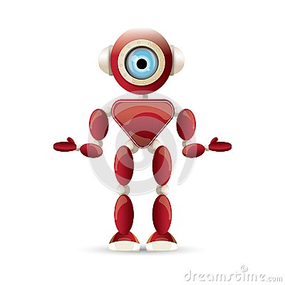 Free Vector Funny Cartoon Red Friendly Robot Character Isolated On White Background. Kids 3d Robot Toy. Chat Bot Icon Stock Image - 117144701