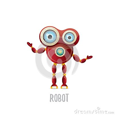 Free Vector Funny Cartoon Red Friendly Robot Character Isolated On White Background. Kids 3d Robot Toy. Chat Bot Icon Royalty Free Stock Photos - 117146198