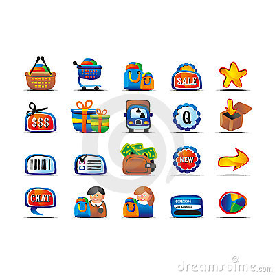 Vector funny ecommerce icon set