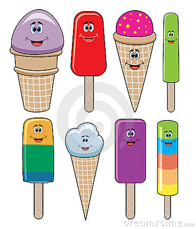 vector funny icecream and popsicles