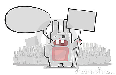 Vector funny rabbit delegation