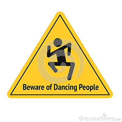 Free Vector Funny Road Sign For Bar Or Night Club. Beware Of Dancing People. Yellow Attention Signs. Flat Design. Stock Photos - 85340823