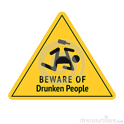 Free Vector Funny Road Sign For Bar Or Night Club. Beware Of Drunken People. Yellow Attention Signs. Flat Design. Royalty Free Stock Photo - 85343535