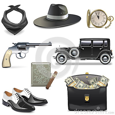 Free Vector Gangster Icons Royalty Free Stock Photography - 75671287