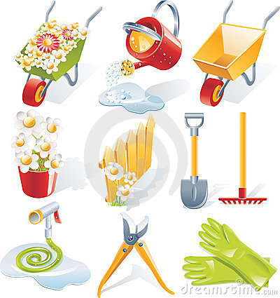 Free Vector Gardening Icon Set Royalty Free Stock Photography - 8746197