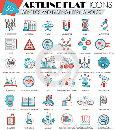 Free Vector Genetics And Bioengineering Ultra Modern Outline Artline Flat Line Icons For Web And Apps. Stock Images - 73601214