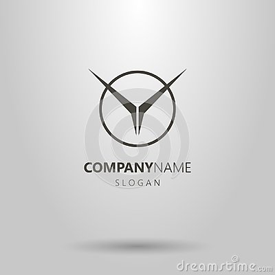 Vector geometric abstract flying bird logo in a round frame Vector Illustration