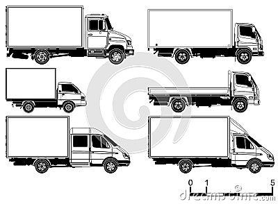 Vector geplaatste vrachtwagens