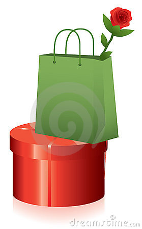 Free Vector Gift Box And Shopping Bag With Rose Royalty Free Stock Images - 22488549