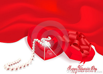 Vector gift box-heart with pearl red background