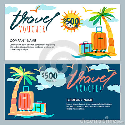 Free Vector Gift Travel Voucher Template. Tropical Island Landscape With Palm Tree And Luggage Suitcase. Stock Image - 86698041