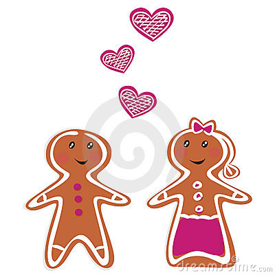 Vector Gingerbread People - Couple on white