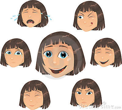 Vector Girl character with various face ecpressio