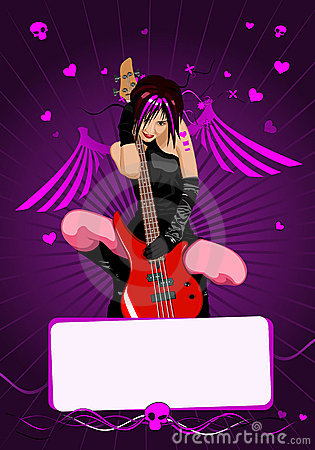 Vector girl with guitar and copy-space