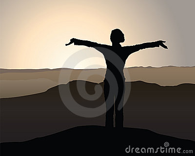 Vector Girl on Mountain Sunrise