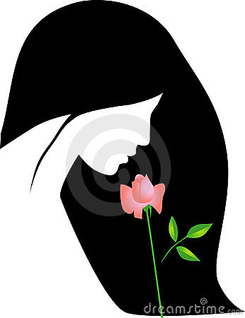 Vector girl with rose
