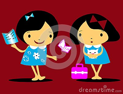 Vector girls back to school icons