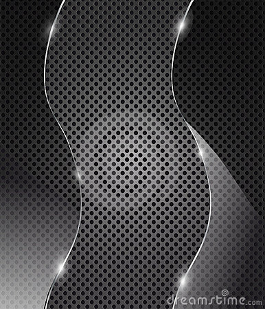 Vector glass frame on metal background