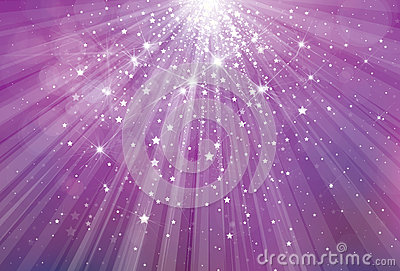 Vector glitter violet background with rays of ligh