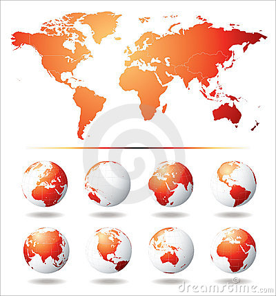 Free Vector Globe And World Map Royalty Free Stock Images - 12582559