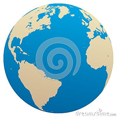 Vector globe / Atlantic ocean