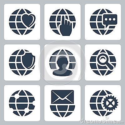 Vector globe icons set