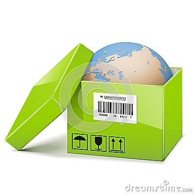 Free Vector Globe In Green Box Stock Image - 36721971