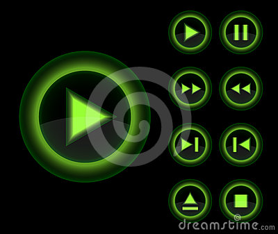 Vector glossy 3d player green buttons set.