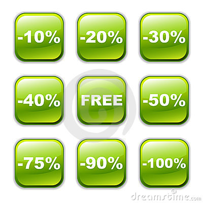 Vector glossy button icon, green