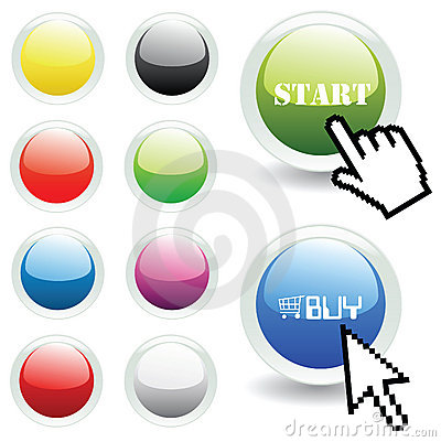 Free Vector Glossy Buttons With Mouse And Hand Pointer Royalty Free Stock Image - 9950416