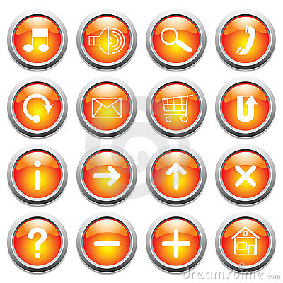 Free Vector Glossy Buttons With Symbols. Stock Image - 8818081