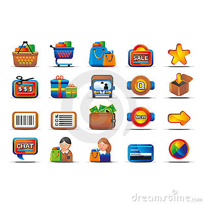 Vector glossy ecommerce icon set
