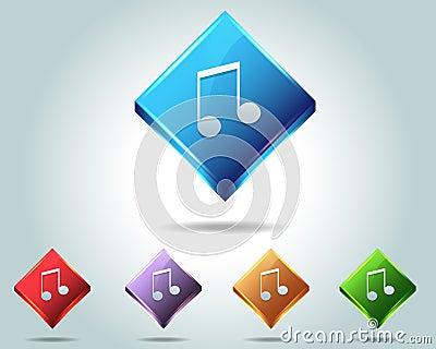 Vector Glossy Music Note Icon/Button and multicolo